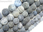 "Matte Frosted Black Fire Crackle Agate Gemstones Round Beads 15"" 6mm 8mm 10mm"