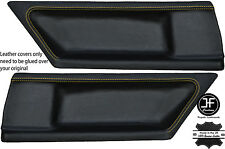 YELLOW STITCH 2X REAR DOOR CARD LEATHER COVERS FITS BMW E36 COUPE 91-98 STYLE 2