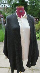 Black Ribbed Fine Cashmere Knit Shawl with Satin Edge 220 cm X 84 cm
