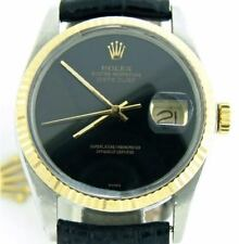 Rolex Datejust Mens 2Tone 14K Gold Stainless Steel Watch Black Strap Band Dial