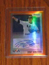 Tony Wolters Autographed 2010 Bowman Chrome ORANGE Refractors #USA-TW  RC - /25
