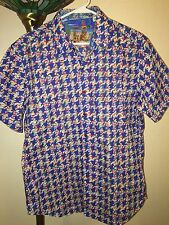 NEW Men's Robert Graham Johnson Valley Blue Embroidered Short Sleeve Shirt - Med
