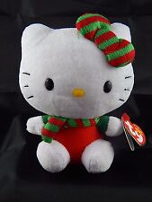 "Ty Sanrio Christmas Red & Green Scarf Hello Kitty 6"" Girls Plush Doll Toy 3+"