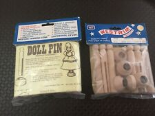 Vintage Wood Doll Pins & Stands For Crafts 12 Sets New In Package