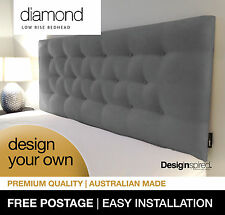 DIAMOND LOW RISE Upholstered Bedhead Headboard for Double Size Ensemble-GRAPHITE