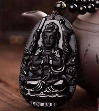 1pcs obsidian guanyin pendant necklace Amulet Wholesale Charm Fashion Carved