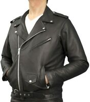 Leather Brando Motorcycle Jacket Perfecto Mens Black Marlon Motorbike Armoured /