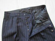 Vtg 30s 40s ? Button Fly Pinstripe Wool Dress Pants Bespoke 35x32.5 Hollywood