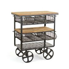 "56"" H Cart solid wood top five levels iron wheels industrial design hand made"