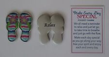 H Relax flip flop beach sandal MAKE EVERY DAY SPECIAL POCKET token charm