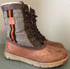 TOMMY HILFIGER 7.5 Women's SABLE Carmel Brown & Orange Plaid Duck Boots