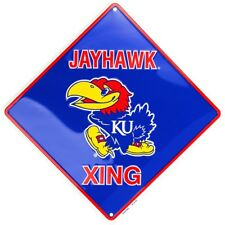 "University of Kansas Jayhawks 12"" Xing Crossing Collegiate Metal Sign Embossed"