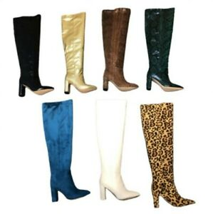 Occident Women's Runway Slouch Over The Knee High Heel Pointy Toe Boots Winter L