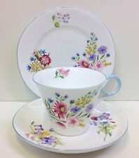"Shelley Regent Shape ""Wildflowers"" Pattern Tea Cup Trio."