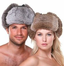 Brand Gray Rabbit Fur Russian Ushanka Hat With Ear Flaps Bomber Trapper Aviator