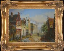 Old Dutch Town Scene~Original Oil Painting+Wood Frame