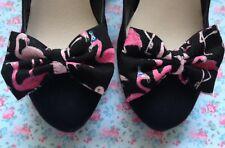 PAIR BLACK PINK FLAMINGO PRINT SHOE BOWS NOVELTY COTTON FABRIC BOW CLIPS RETRO