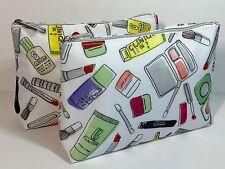 Clinique white Multi Makeup rainbow Bag Cosmetic Pouch Toiletry Case set lot x 2