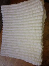 Hand knitted Rico pom pom blanket White approx size 22 inch x 34 inch