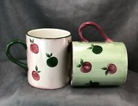 Franciscan Apple Pie Pattern Coffee Mug Cup Set Hand Painted Earthenware