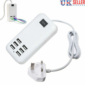 Multi 6 Ports USB Charger Adapter Wall Hub Power Supply Mains Cable Cord UK Plug