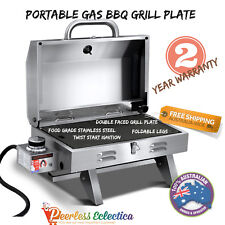 Portable Gas BBQ Grill Plate Camping Outdoor Caravan Cooking LPG Barbecue Cooker