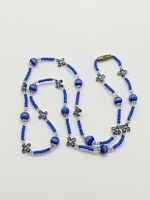 Vintage Artisan Blue Cats Eye Seed Bead Choker Necklace Flower