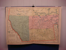 """1903 Cram's Atlas Map 2 Page,Alberta Canada, Color,Suitable To  Frame 14""""X21"""""""