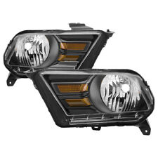 Ford 10-14 Mustang Black Housing Replacement Headlights pair set Shelby GT ST
