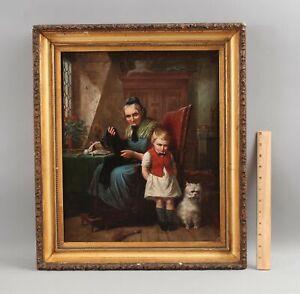 Antique Signed Genre Oil Painting Grandmother Grandson West Highland Terrier Dog