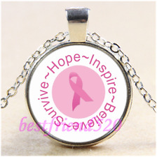 Breast Cancer Awareness Cabochon Glass Tibet Silver Chain Pendant Necklace#CD97