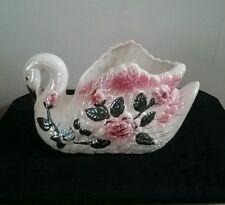 Vintage swan ceramic planter multi-color majolica style