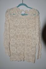 Lydia Jane LTD sweater beige size 2 loose hand knit ramie/cotton pullover