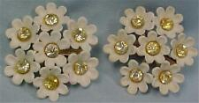 Vintage Plastic Earrings Daisies Daisy Flowers White Yellow Rhinestones Clip On