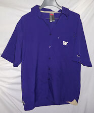 WASHINGTON HUSKIES Mens Nike Fit Dry Button Front Team Issued Shirt Sz L