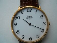 Vintage Emerich Meerson women's Brown leather,winding up & Analog used watch.