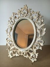 """vtg Cast Iron Easel Back Oval Picture Frame French Ornate old white paint 12.5""""H"""