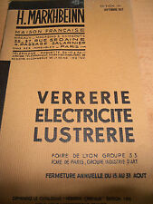 catalogue verrerie - électricité - lustrerie  H . MARKHBEINN année 1937 ( ref 7
