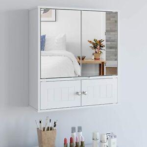 Spiegelschrank Hängeschrank Badschrank Spiegel Schminkschrank Wandspiegel Weiß