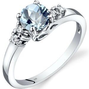 14K White Gold Aquamarine Diamond Solstice Ring Size 7