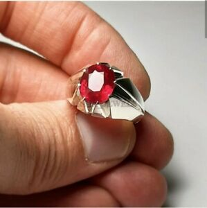 Natural Ruby Gemstone with 925 Sterling Silver Ring for Men's #3053