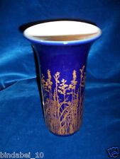 Hübsche Blau/Gold Fabene Blumenvase Tisch Vase 21cm H-Keramik ca 60er 70er Jahr