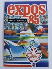 1985 Montreal Expos Baseball Mlb Game Guide Schedule Vintage Rare Memorabilia