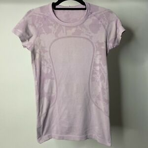 *flaws* Lululemon Women's sz 8 Swiftly Tech Short Sleeve Athletic Camo Purple