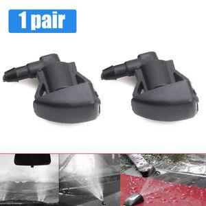 2pcs Universal Black Car Front Windshield Washer Wiper Spray Nozzle Accessories