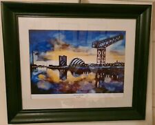 Bryan Evans Print Framed Clyde Vista Old And New Signed By Artist Glasgow 40x27
