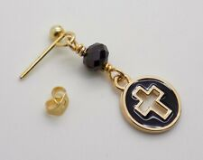 Mens Gents Single Gold Black CROSS EARRING