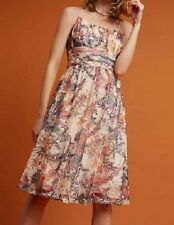 Anthropologie Dress Size 8 Mackenzie Floral Pink Flowers Fit and Flare New