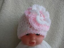 Stunning Crochet Baby Hat/Beanie With White and Pink Flower  0-3 Month