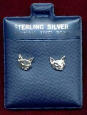 TINY CAT STERLING SILVER EARRINGS WITH SURGICAL STEEL POSTS
